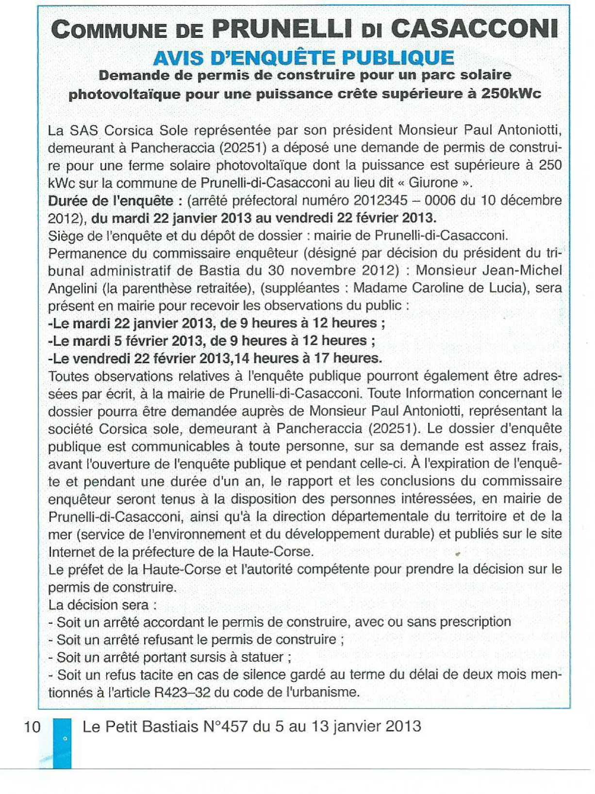 Prunelli di casacconi demande de permis de construire for Demande de permis de construire pour un garage