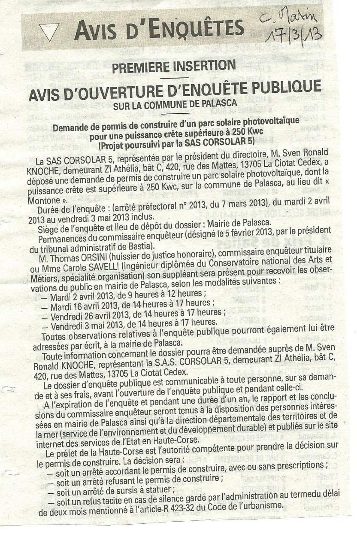 Palasca demande de permis de construire d un parc solaire for Cout d un permis de construire