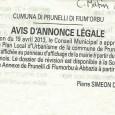 Prunelli Di Fiumorbu. PLU révisé et approuvé. Du 23 avril au 23 mai 2013