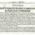 Sari-Solenzara. Abrogation du PLU. Du 22 mai au 02 juillet 2013