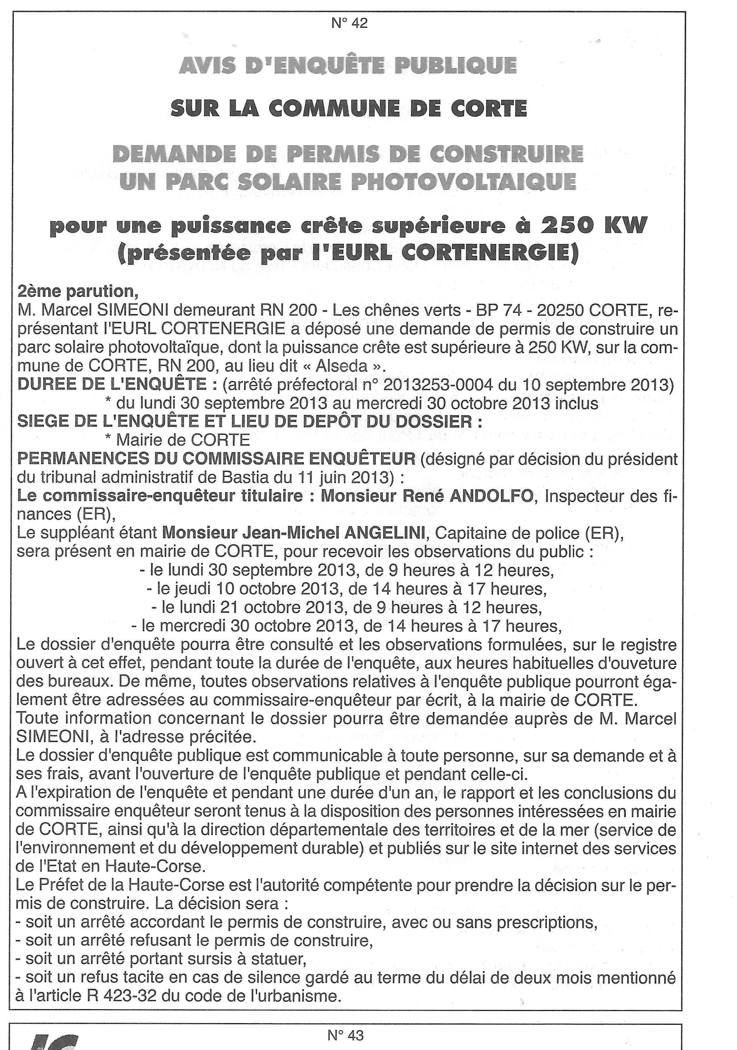 Corti demande de permis de construire parc solaire for Demande de permis de construire modificatif
