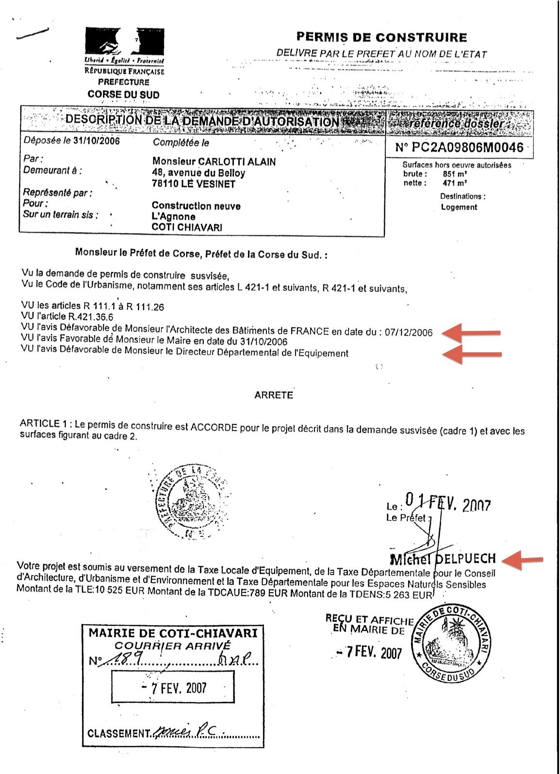 Commune de coti chjavari le permis de construire for Demande permis de construire