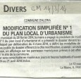 Aleria. Modification du PLU. Du 20 mars au 21 avril 2014.