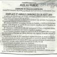 E Valle di Campolori. Remplace et annule l'annonce du 26 août 2014 PLU. Du 15 septembre au 14 octobre 2014.