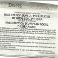 U Grusettu. Révision du POS. Le 6 novembre 2014.