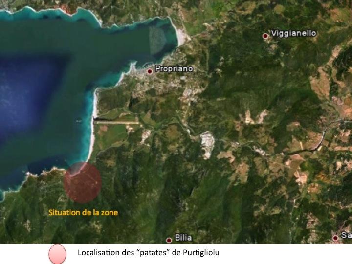 localisation des papates de Purtigliolu