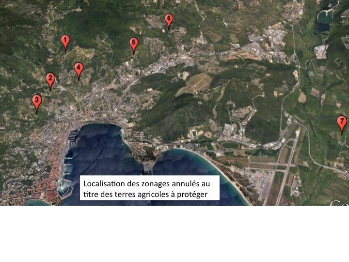 carte localisation zonages annulés agricoles