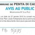 Penta di Casinca. Modification PLU.Le 9 janvier 2015.