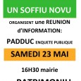 Article sur Corse Net Infos : http://www.corsenetinfos.fr/Patrimoniu-U-Levante-et-les-Nationalistes-appellent-les-Corses-a-se-mobiliser-pour-reformer-le-PADDUC_a15325.html Article de France 3 Via Stella http://france3-regions.francetvinfo.fr/corse/2015/05/24/patrimonio-le-sort-des-terres-agricoles-au-centre-d-une-reunion-sur-le-padduc-731251.html à voir aussi : les replays du corsica sera du 23/05/2015 et du corsica prima du […]
