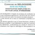 Belgodere. Modification PLU. Du 28 octobre au 28 novembre 2015.