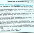Brando. Création chemin rural. Du 28 septembre au 10 octobre 2015.