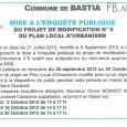 Bastia. PLU. Du 2 octobre au 30 octobre 2015.