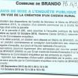 Brando. Création chemin rural. Du 28 septembre au 12 octobre 2015.