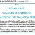 Calenzana. Révision PLU. Le 8 octobre 2015.