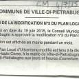 E Ville di Petrabugnu. Modification PLU. Le 4 juillet 2015.