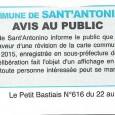 Sant'Antulinu. Révision Carte communale. Du 1 février au 1 mars 2016.